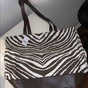Brown leather animal print tote